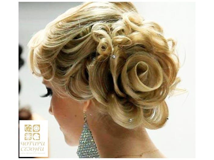 Прическа на свадьбу роза из волос